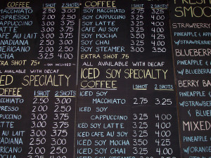 Coffee shop chalk menu board with prices