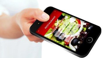 Mobile Phone With Takeaway Restaurant Order Screen Isolated Over