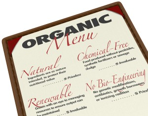 An organic menu for ordering food with ingredients that are prod