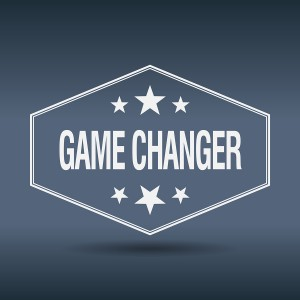 Game Changer Hexagonal White Vintage Retro Style Label