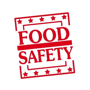 Food Safety Red Stamp Text On Squares On White Background