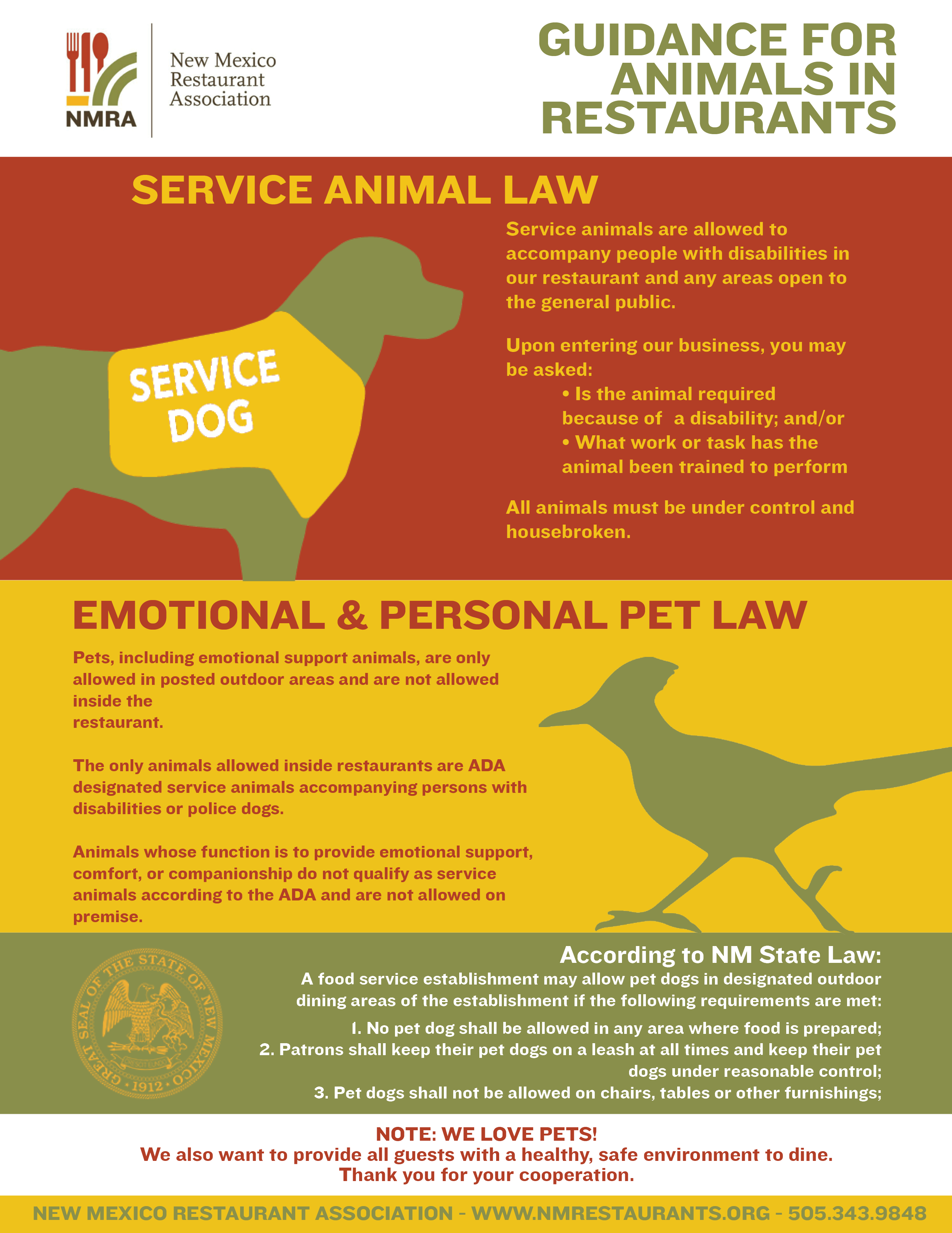 Dining with Dogs: New Mexico Statutes for Service Animals
