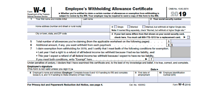 Final Version Of The 2020 Form W 4